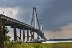 About Charleston: photo of the Arthur Ravenel Bridge, leading into and out of Charleston, South Carolina