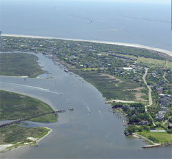 About Sullivans Island: an aerial photo showing an inland waterway at Sullivans Island, South Carolina