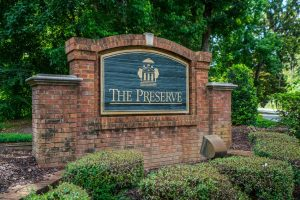 The Preserve neighborhood sign. Brickyard Plantation in Mount Pleasant, South Carolina